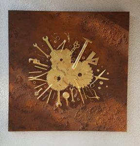 Das goldene Handwerk, Assemblage, Werkeug, blattvergoldet auf Rost