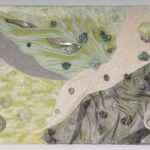 Kunst zum kaufen, Edelsteincollage mit edlen Stoffen in zarten Pasetlltönen
