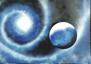 Spraypaint, Moderne Kunst, abstrakte Kunst, Planeten, Kosmos, Weltall, Bilder