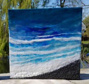 Oceanblues 6 Enkaustik, San dund Wachs 30 x 30 cm