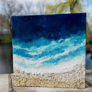 Oceanblues 1 Enkaustik, Sand mit Wachs 25 x 25 cm
