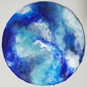 Blue 1 Enkaustik 20 cm rund