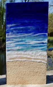 Oceanblues 10 Enkaustik, Sand und Wachs 40 x 20 cm