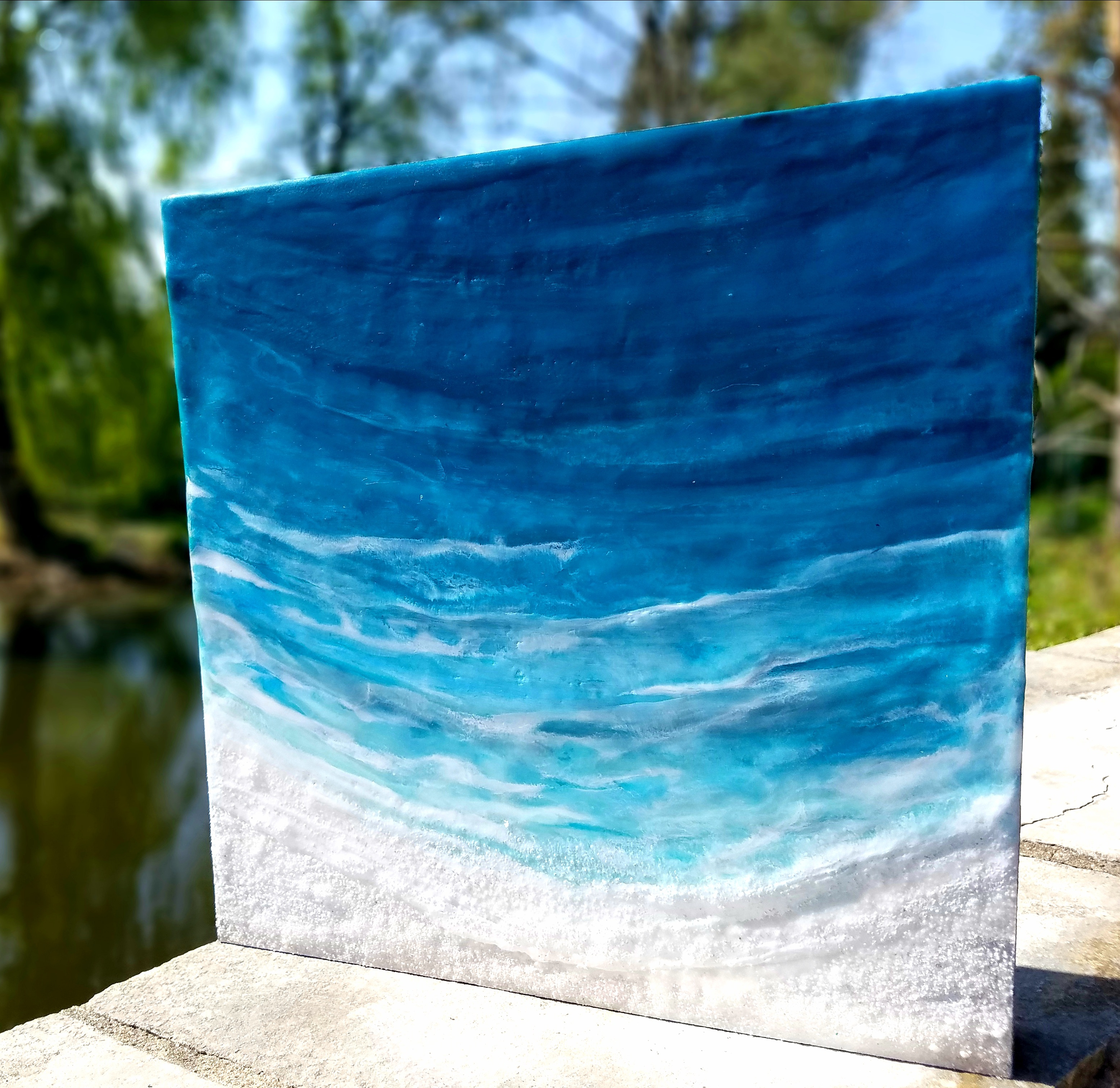 Oceanblues 12 Enkaustik Sand und Wachs 25 x 25 cm