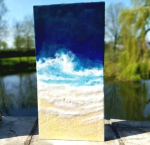 oeanblues2 Enkaustik, Sand und Wachs 40 x 20 cm verkauft