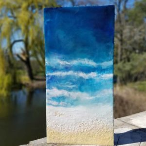 Ocenblues3 Enkaustik, Sand und Wachs 40 x 20 cm