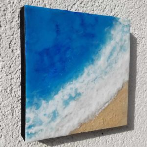 Oceanblues 4 Enkaustik, Sand und Wachs 20 x 20 cm