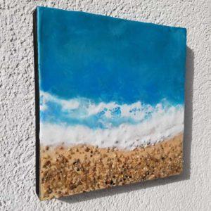 Oceanblues 5 Enkaustik, Sand und Wachs 25 x 25 cm