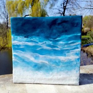 Oceanblues 7 Enkaustik, Sand und Wachs 20 x 20 cm