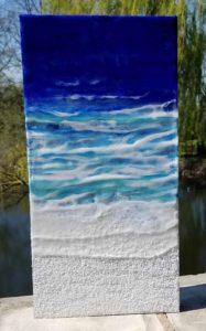 Oceanblues 9 Enkaustik, Sand und Wachs 40 x 20 cm