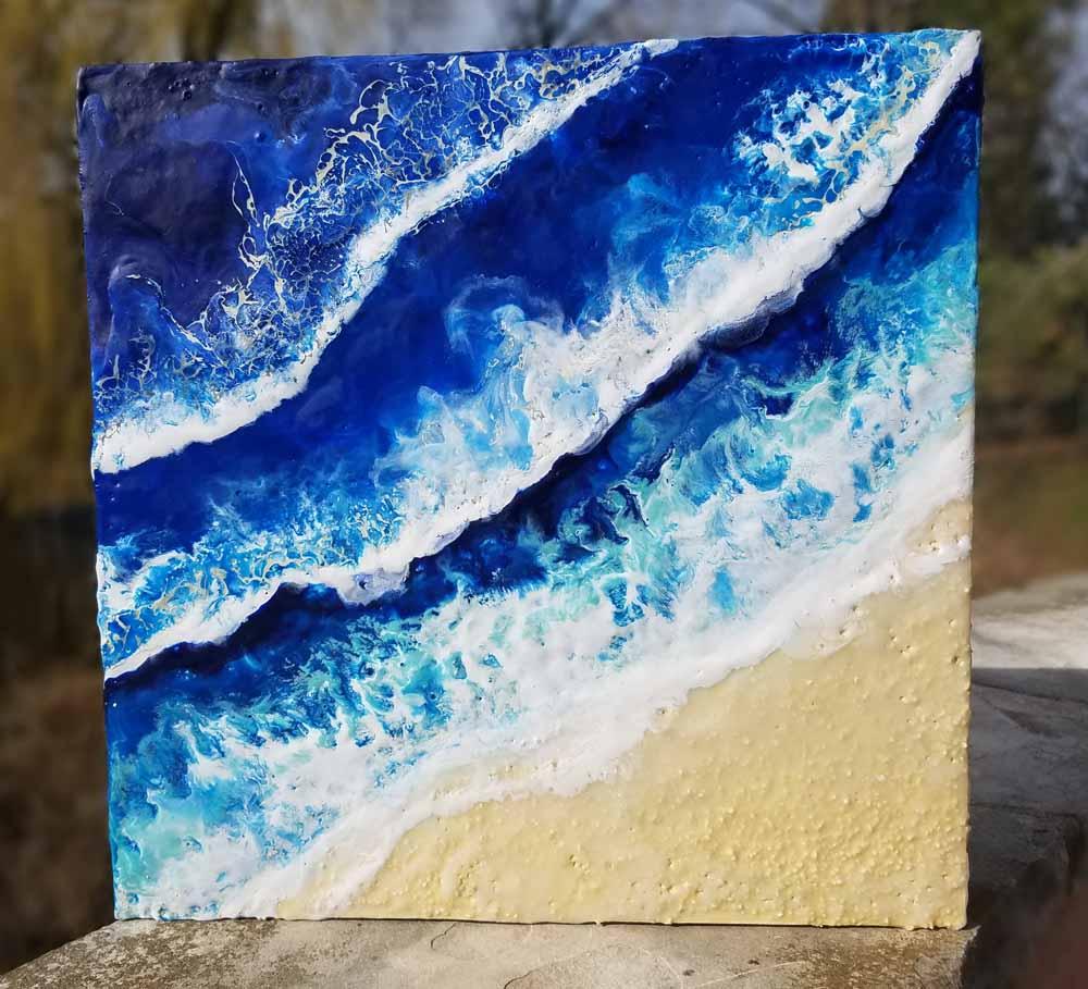Waves 1 Enkaustik, Sand und Wachs 40 x 40 cm