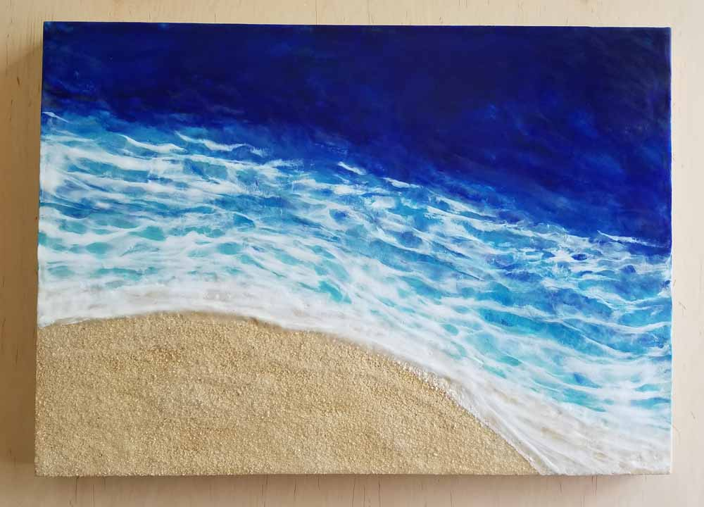 Waves are coming in Enkaustik, Sand und Wachs 50 x 70 cm